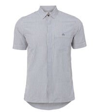 Classic Short Sleeved Shirt Hickory Stripe White/Blue