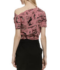 Grateful Print Drape Top Red